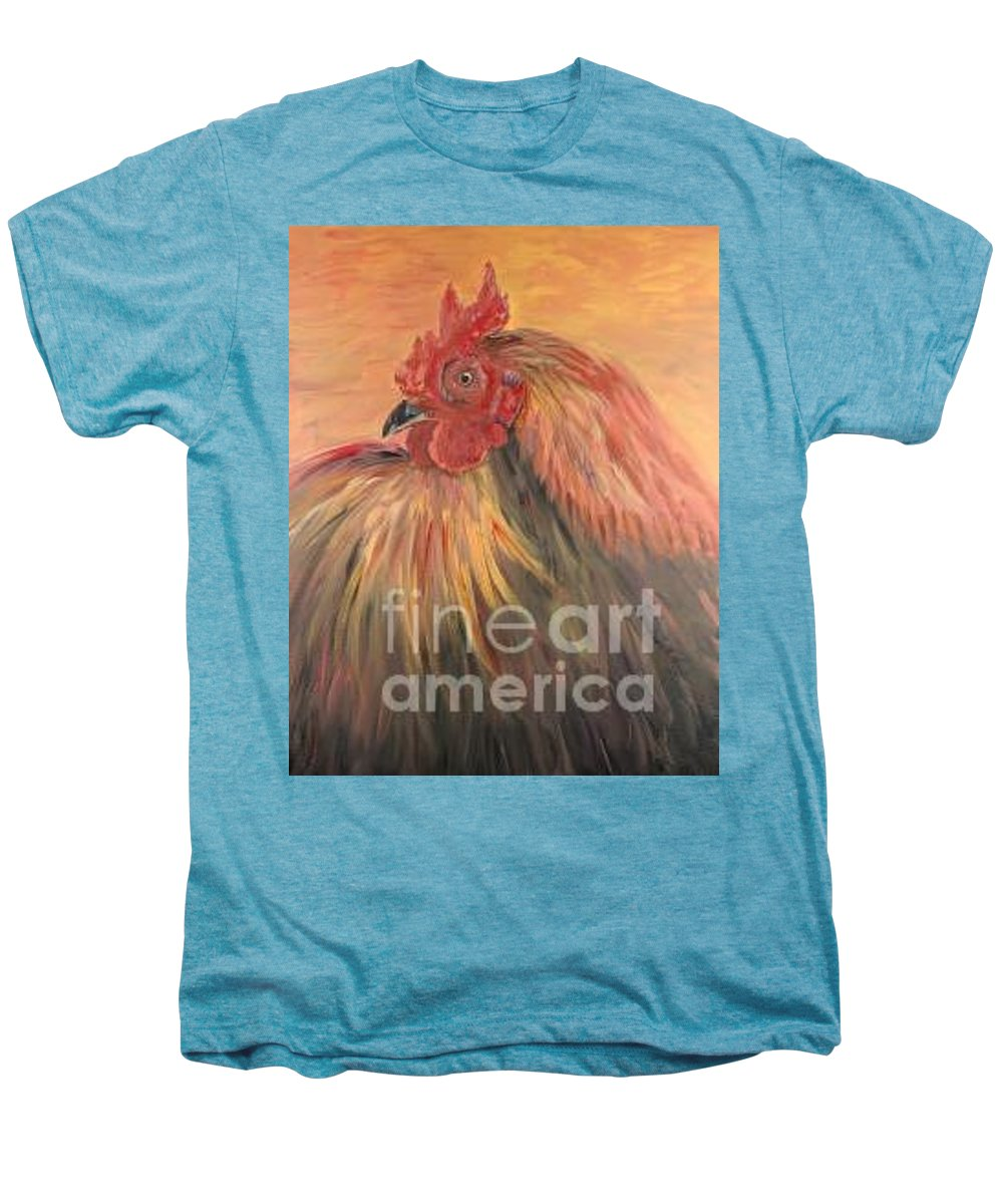 Rooster Men's Premium T-Shirt featuring the painting French Country Rooster by Nadine Rippelmeyer
