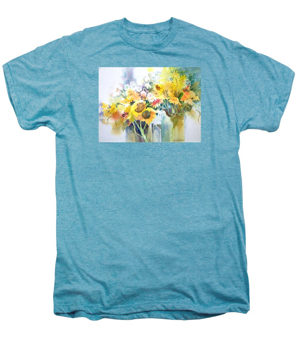 Contemporary;watercolor;sunflowers;daisies;floral; Men's Premium T-Shirt featuring the painting Fresh-picked by Lois Mountz