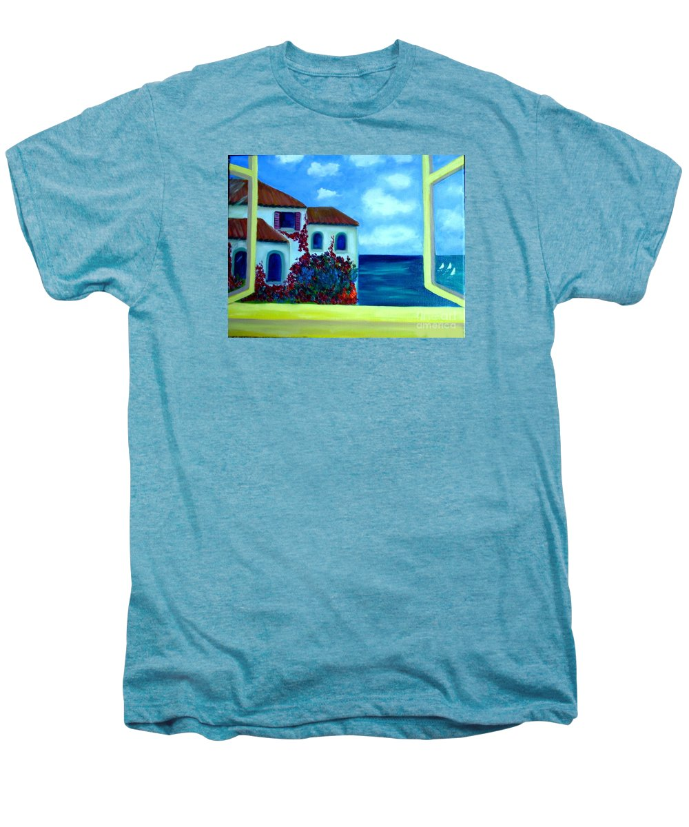 Seascape Men's Premium T-Shirt featuring the painting Fresh Sea Air by Laurie Morgan