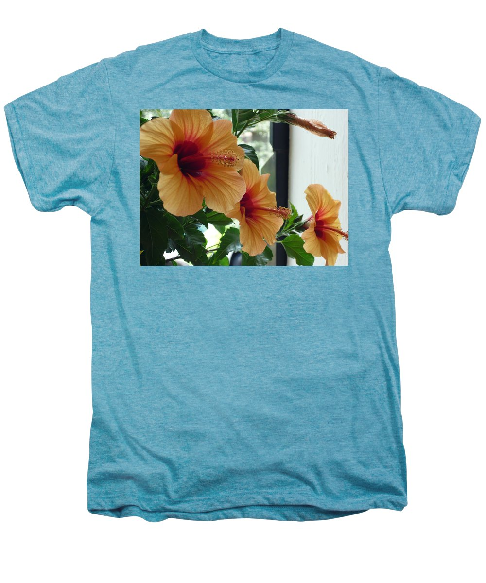 Photography Flower Floral Bloom Hibiscus Peach Men's Premium T-Shirt featuring the photograph Friends For A Day by Karin Dawn Kelshall- Best