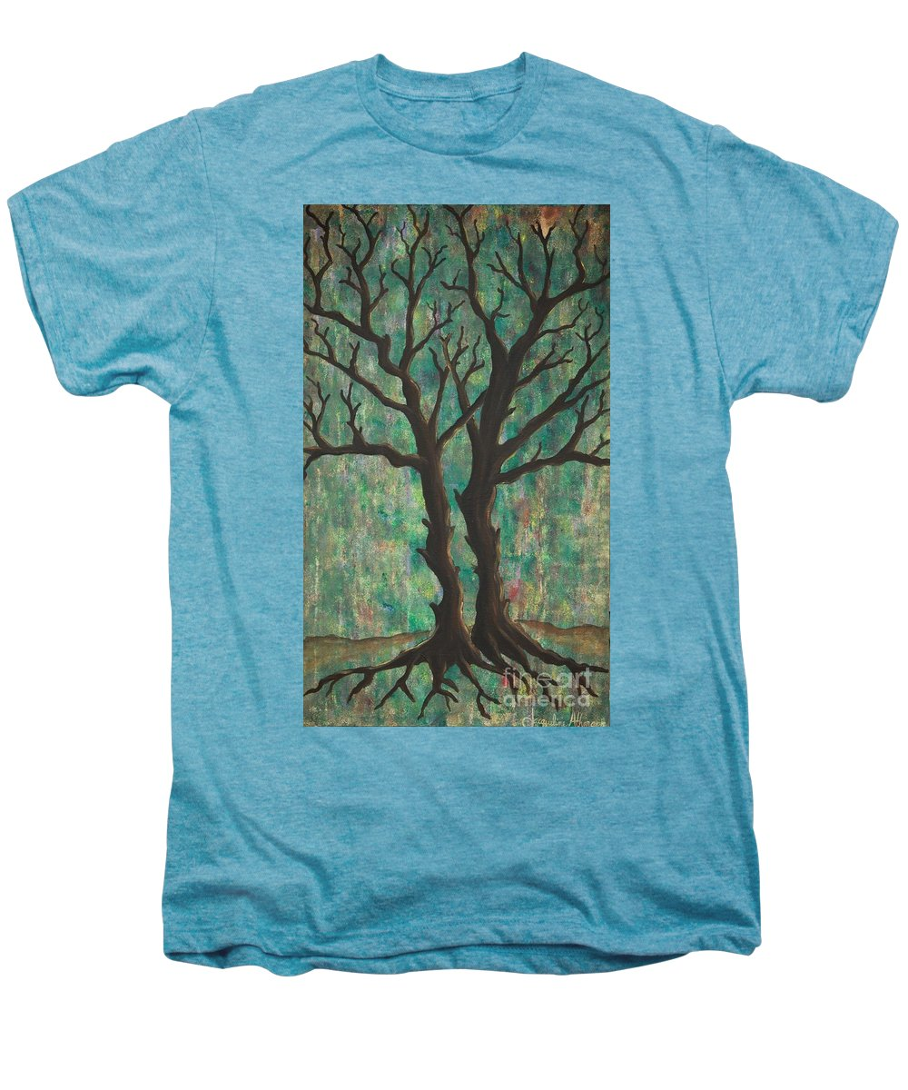 Trees Men's Premium T-Shirt featuring the painting Friends by Jacqueline Athmann