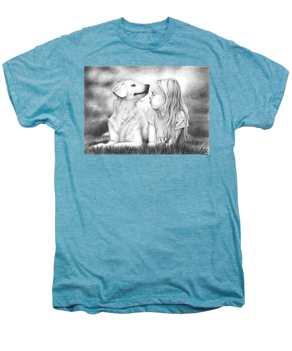 Dog Men's Premium T-Shirt featuring the drawing Friends by Nicole Zeug