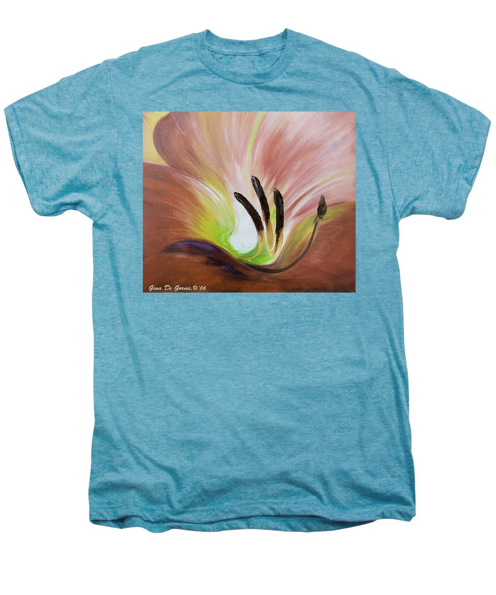 Brown Men's Premium T-Shirt featuring the painting From The Heart Of A Flower Brown 3 by Gina De Gorna
