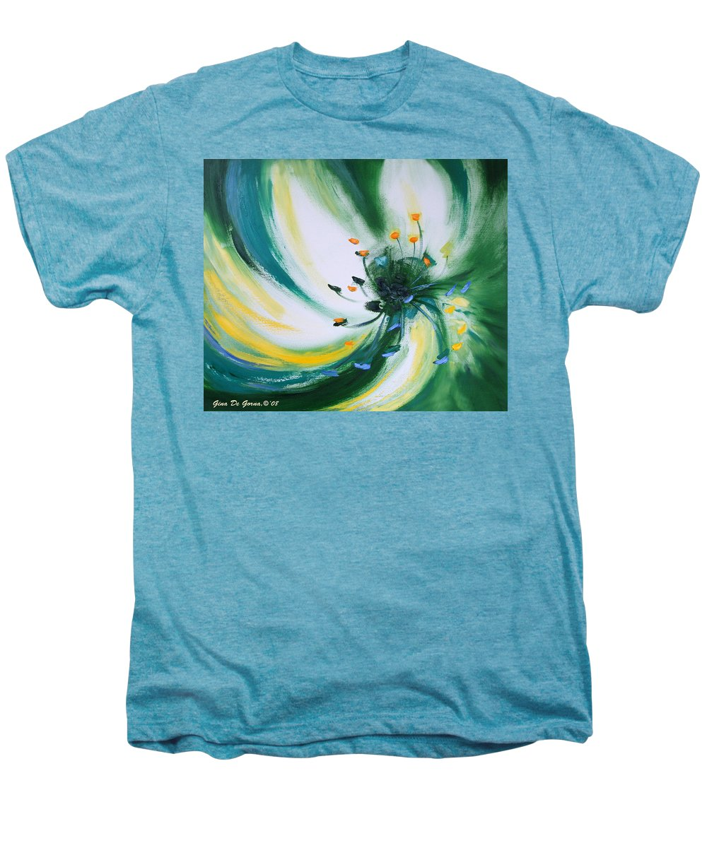 Green Men's Premium T-Shirt featuring the painting From The Heart Of A Flower Green by Gina De Gorna