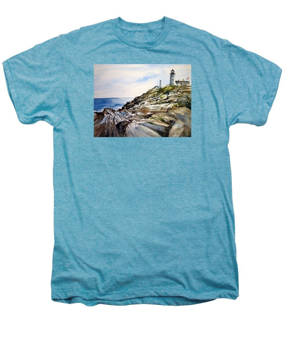 Pemaquid Light House;rocks;ocean;maine;pemaquid;light;lighthouse; Men's Premium T-Shirt featuring the painting From The Rocks Below by Lois Mountz