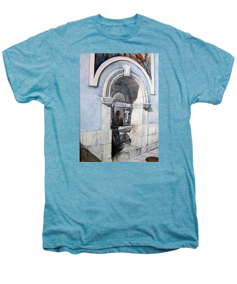 Fuente Men's Premium T-Shirt featuring the painting Fuente Castro Urdiales by Tomas Castano