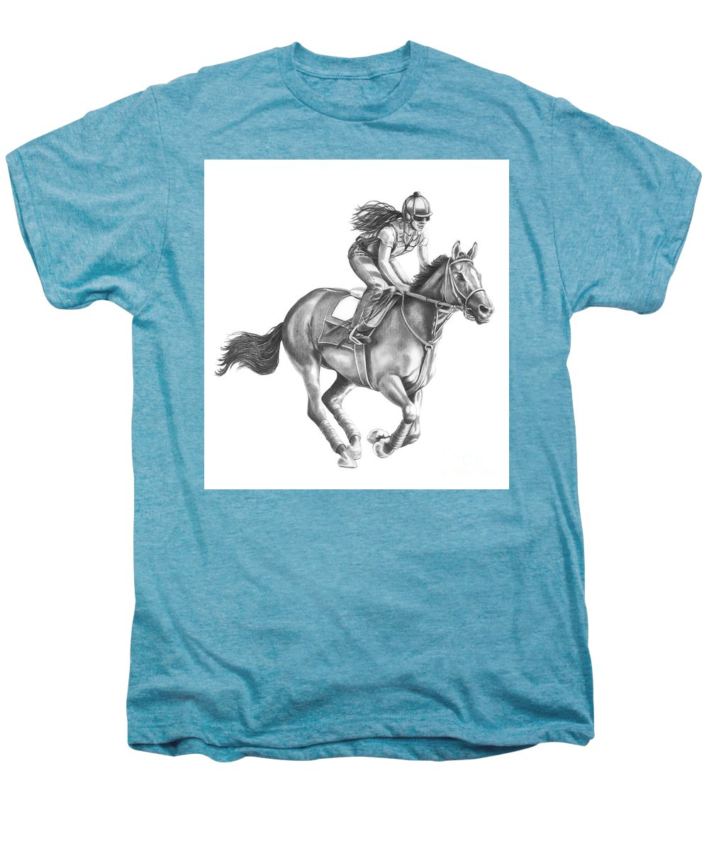 Horse Men's Premium T-Shirt featuring the drawing Full Gallop by Murphy Elliott