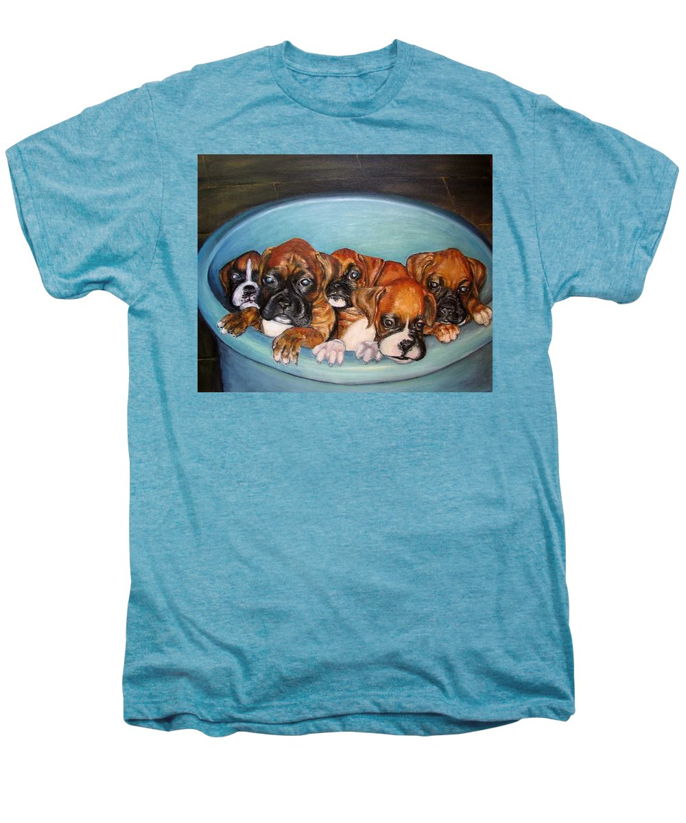 Oil Men's Premium T-Shirt featuring the painting Funny Puppies Orginal Oil Painting by Natalja Picugina