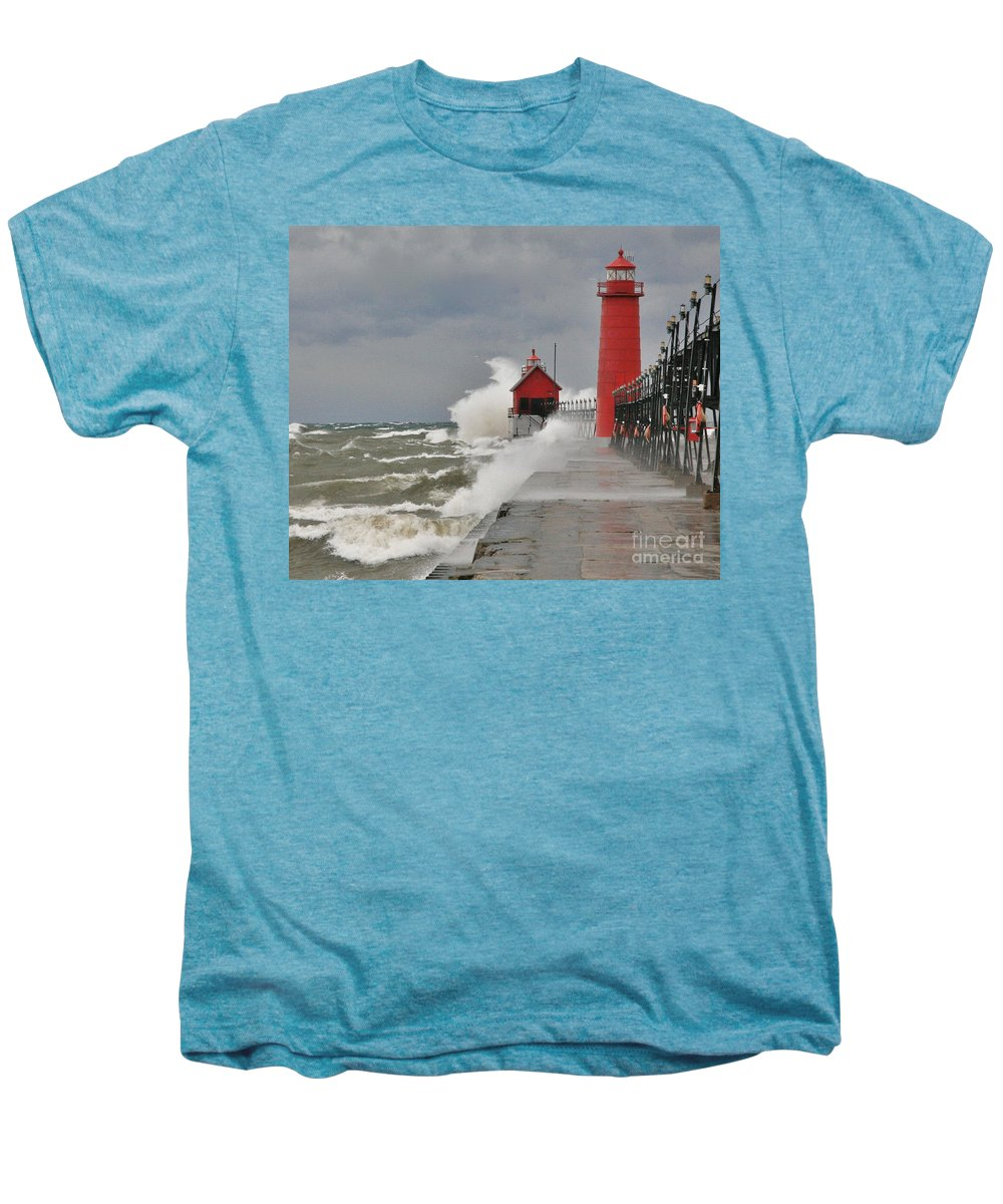 Light House Men's Premium T-Shirt featuring the photograph Gale Warnings by Robert Pearson