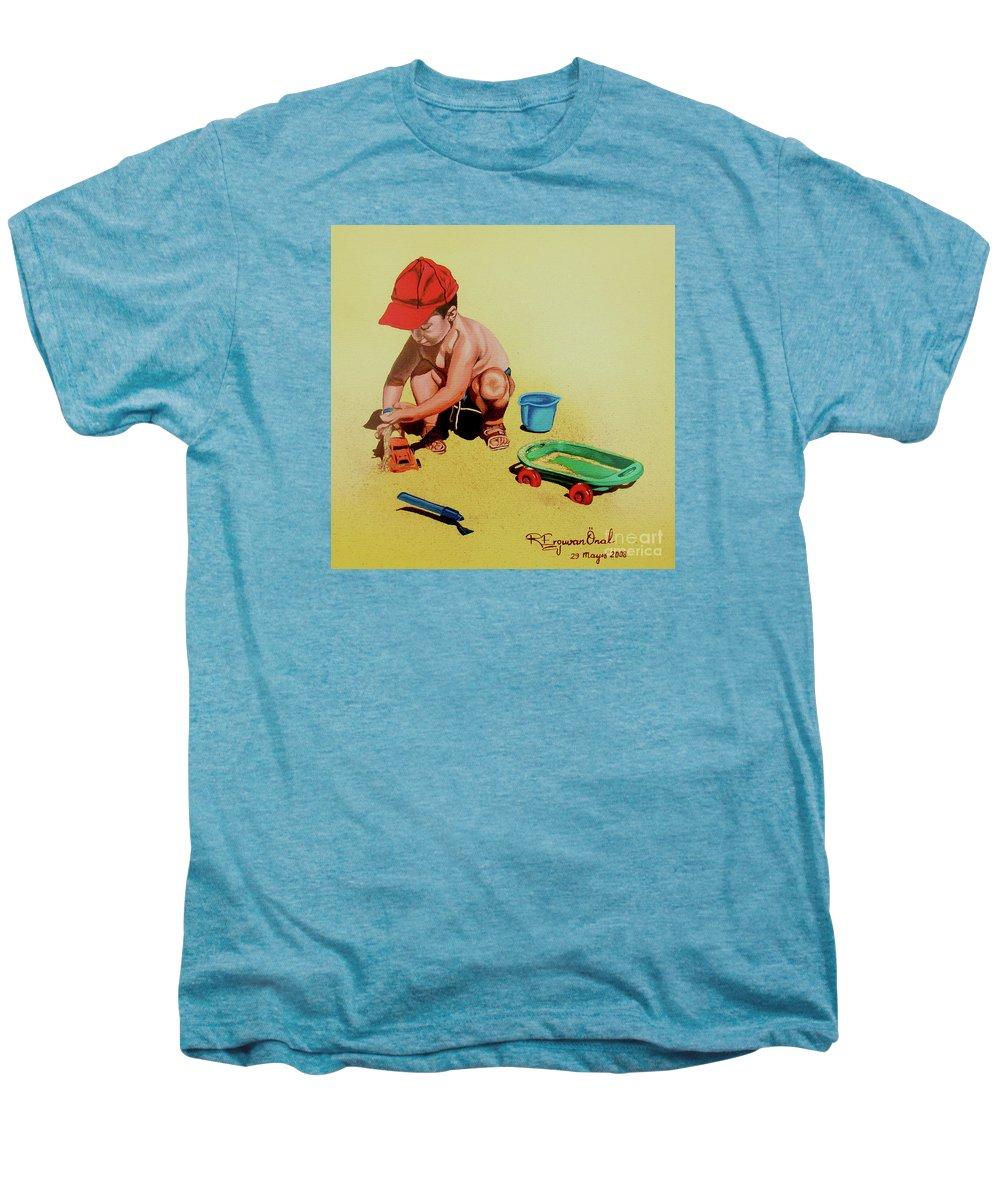 Beach Men's Premium T-Shirt featuring the painting Game At The Beach - Juego En La Playa by Rezzan Erguvan-Onal
