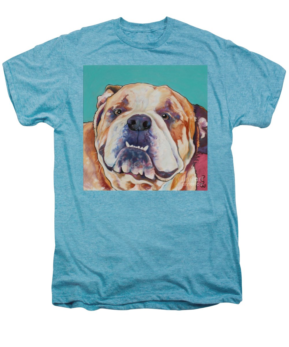 Pat Saunders-white Pet Portraits Men's Premium T-Shirt featuring the painting Game Face  by Pat Saunders-White