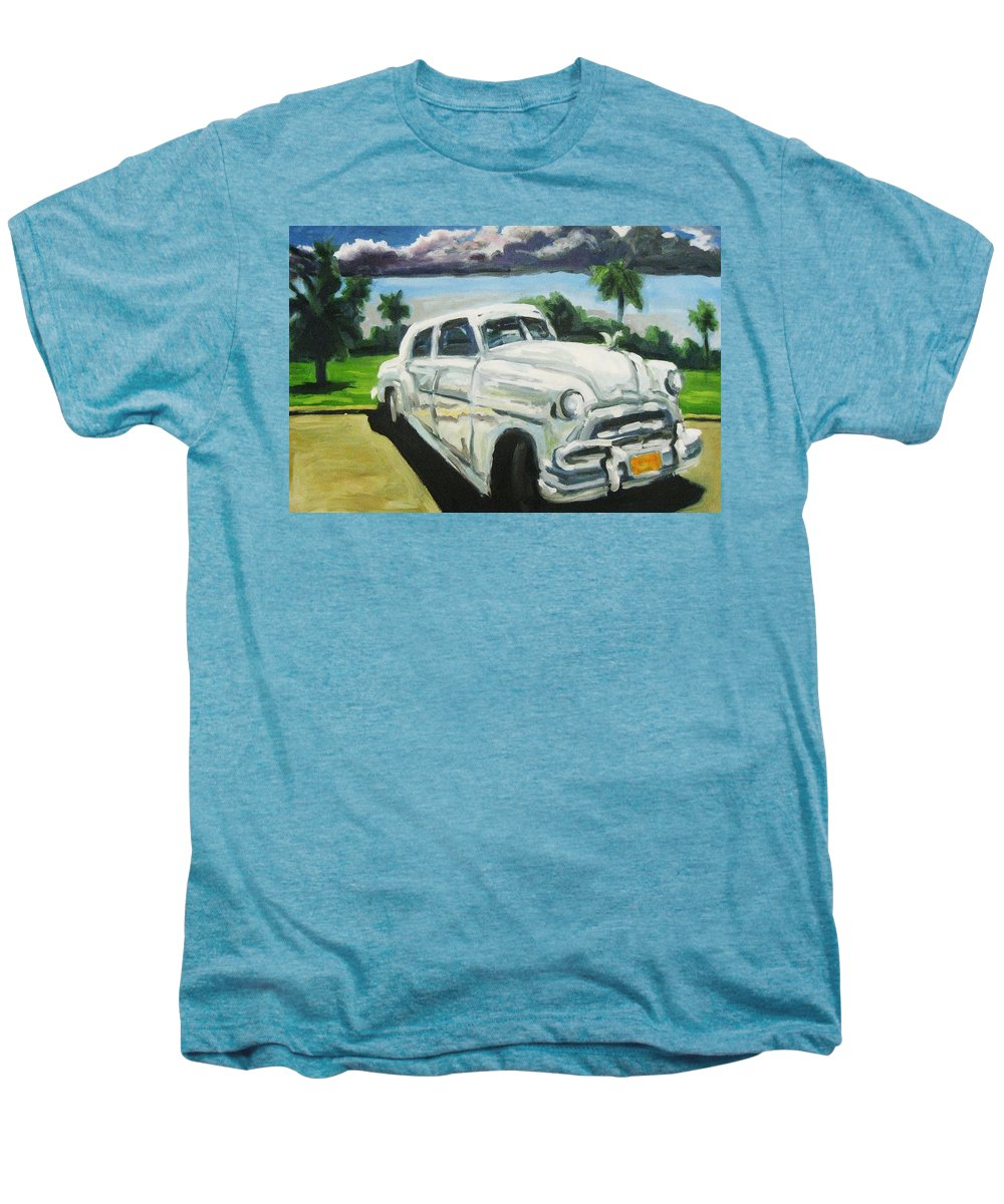 Old Cars Men's Premium T-Shirt featuring the painting Gangsters On Vacation by John Malone