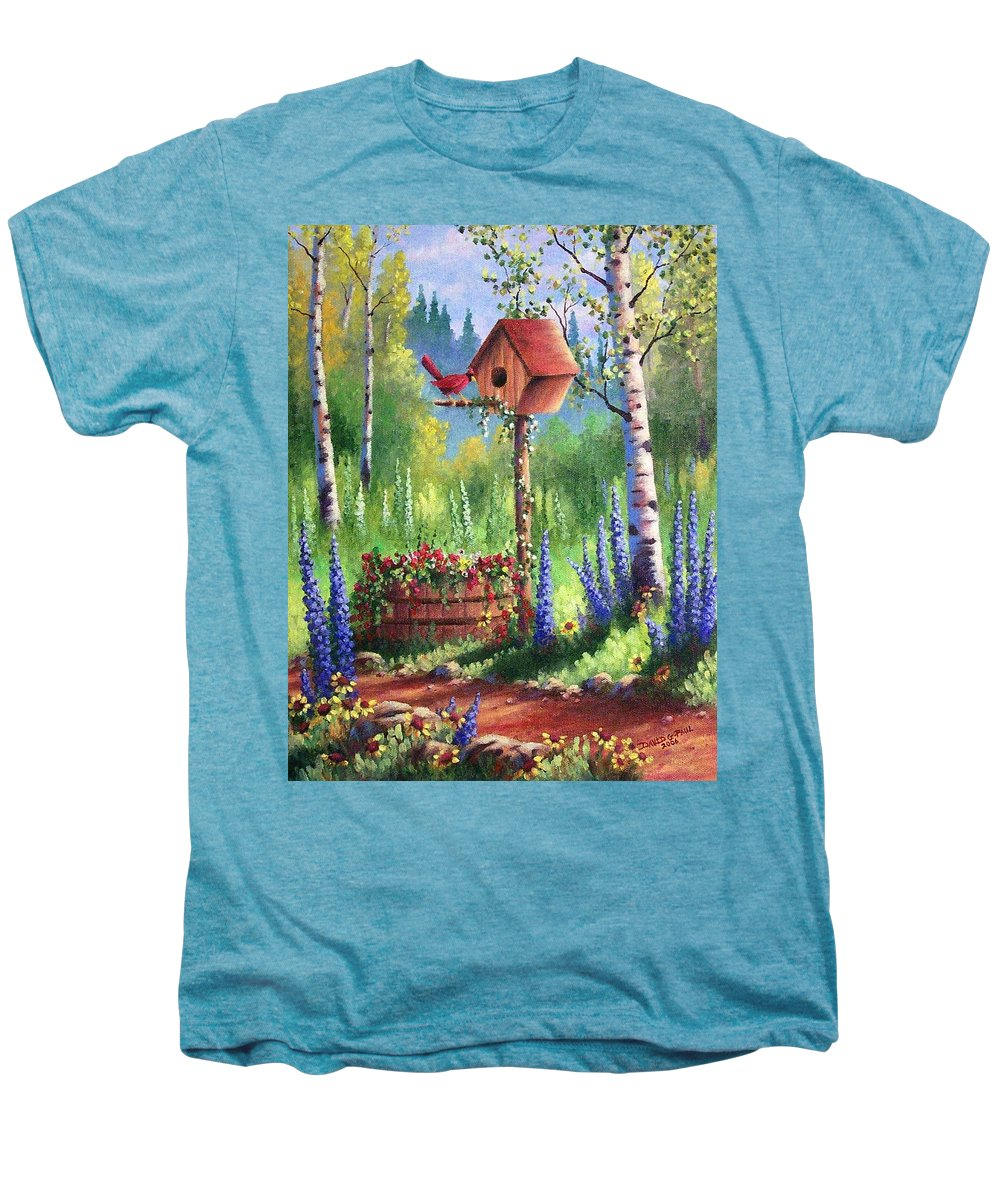Bird Men's Premium T-Shirt featuring the painting Garden Birdhouse by David G Paul