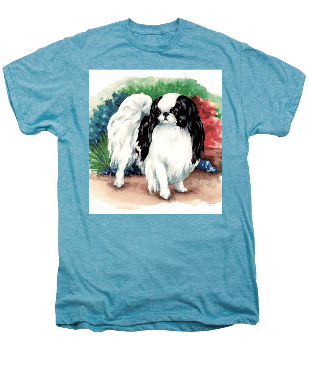 Japanese Chin Men's Premium T-Shirt featuring the painting Garden Chin by Kathleen Sepulveda
