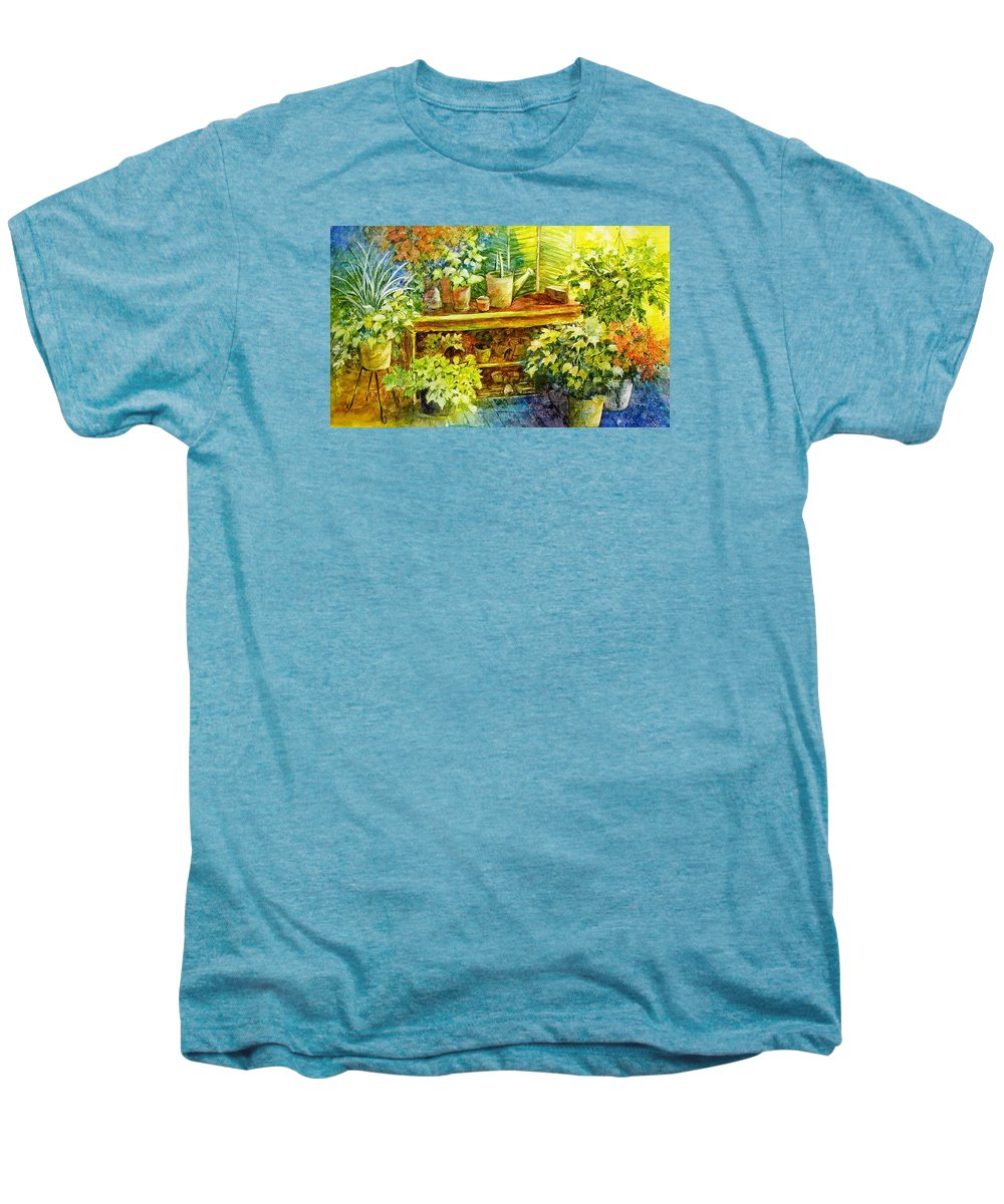 Greenhouse;plants;flowers;gardener;workbench;sprinkling Can;contemporary Men's Premium T-Shirt featuring the painting Gardener's Joy by Lois Mountz