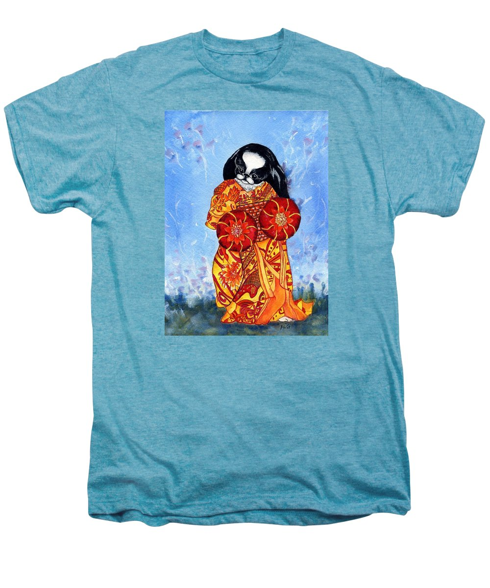 Japanese Chin Men's Premium T-Shirt featuring the painting Geisha Chin by Kathleen Sepulveda