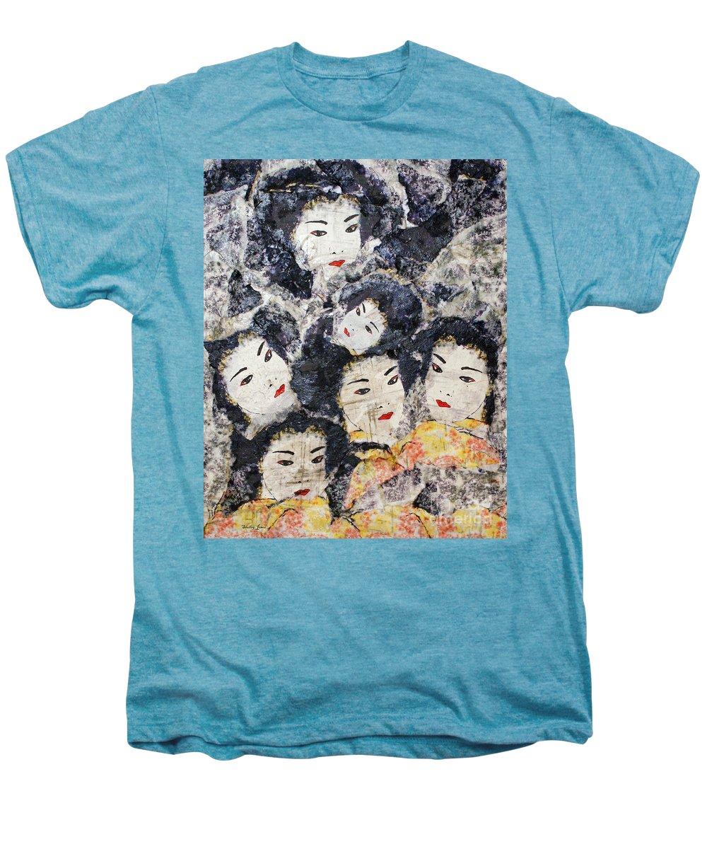Geisha Men's Premium T-Shirt featuring the mixed media Geisha by Shelley Jones