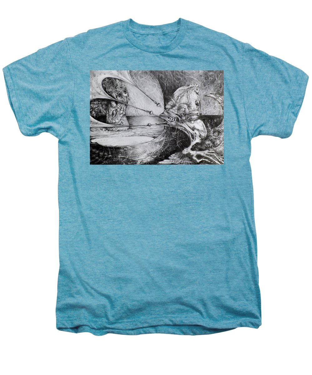 Surrealism Men's Premium T-Shirt featuring the drawing General Peckerwood In Purgatory by Otto Rapp