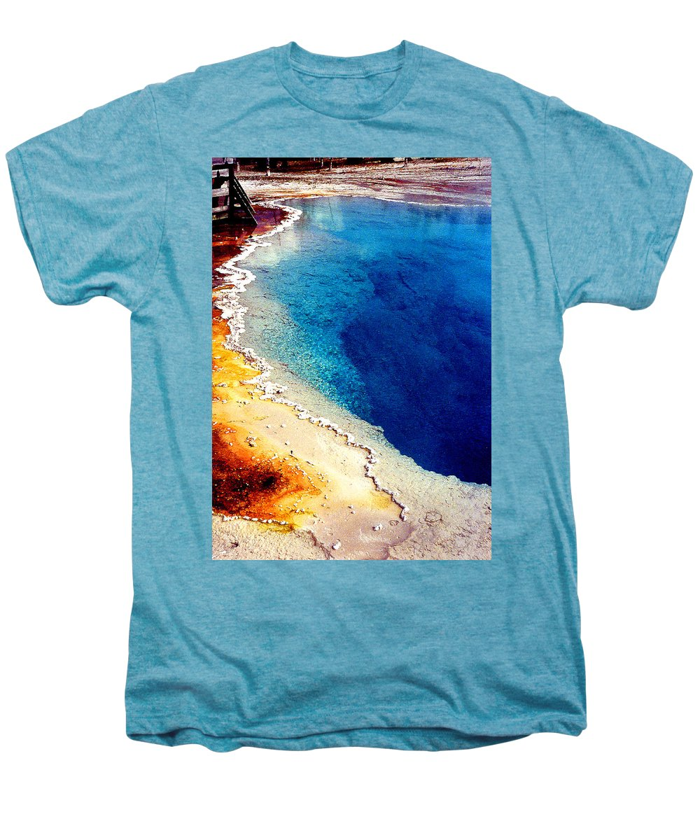 Geyser Men's Premium T-Shirt featuring the photograph Geyser Basin by Nancy Mueller