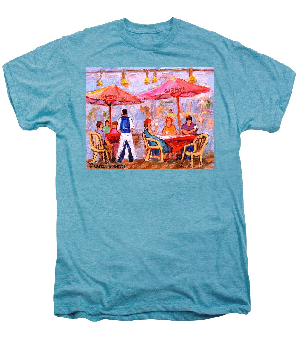 Gibbys Restaurant Montreal Street Scenes Men's Premium T-Shirt featuring the painting Gibbys Cafe by Carole Spandau