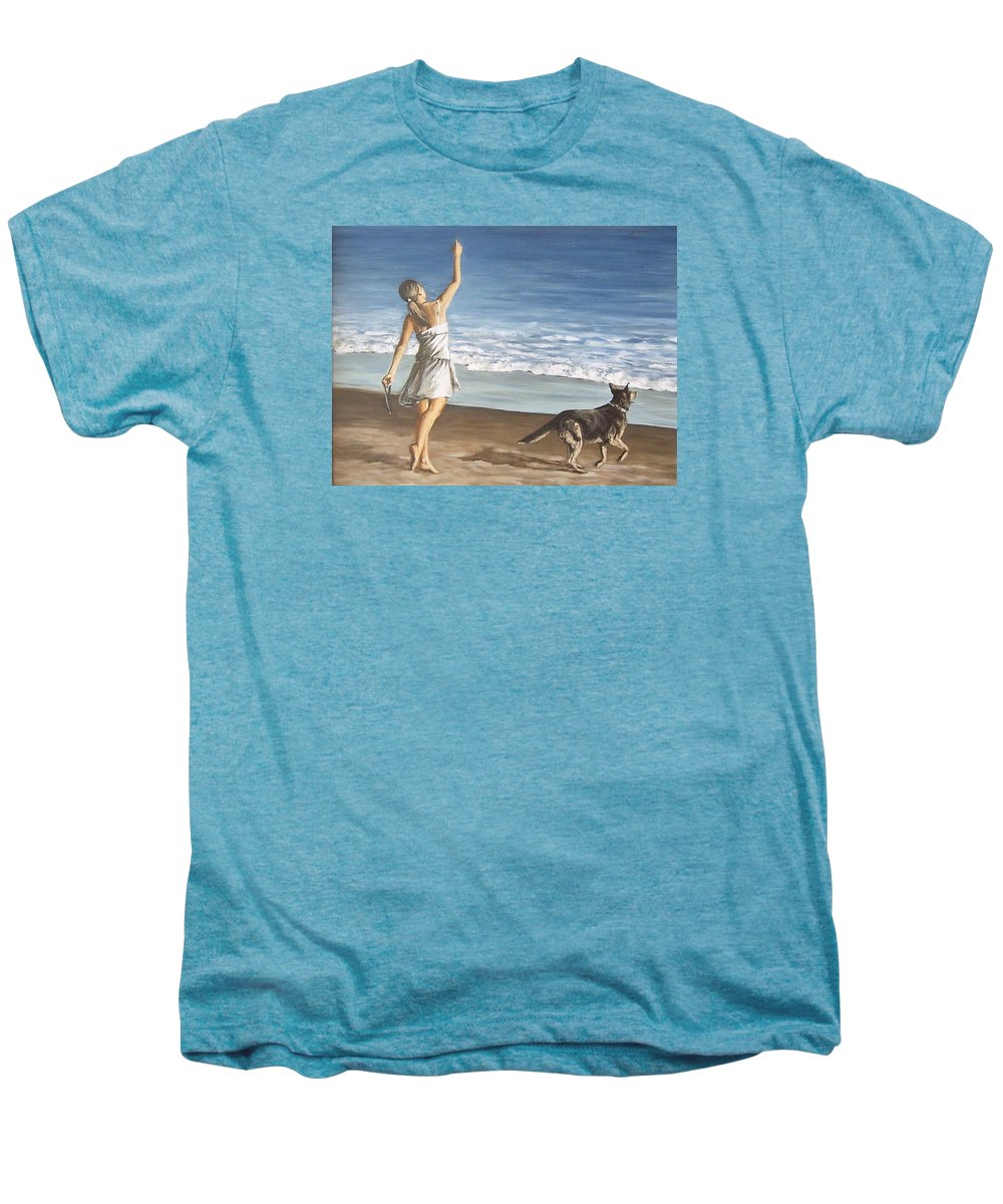 Portrait Girl Beach Dog Seascape Sea Children Figure Figurative Men's Premium T-Shirt featuring the painting Girl And Dog by Natalia Tejera