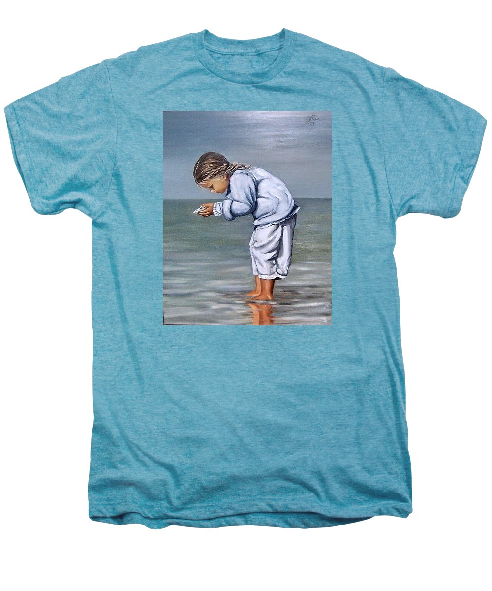 Kid Girl Seascape Sea Children Reflection Water Sea Shell Figurative Men's Premium T-Shirt featuring the painting Girl With Shell by Natalia Tejera