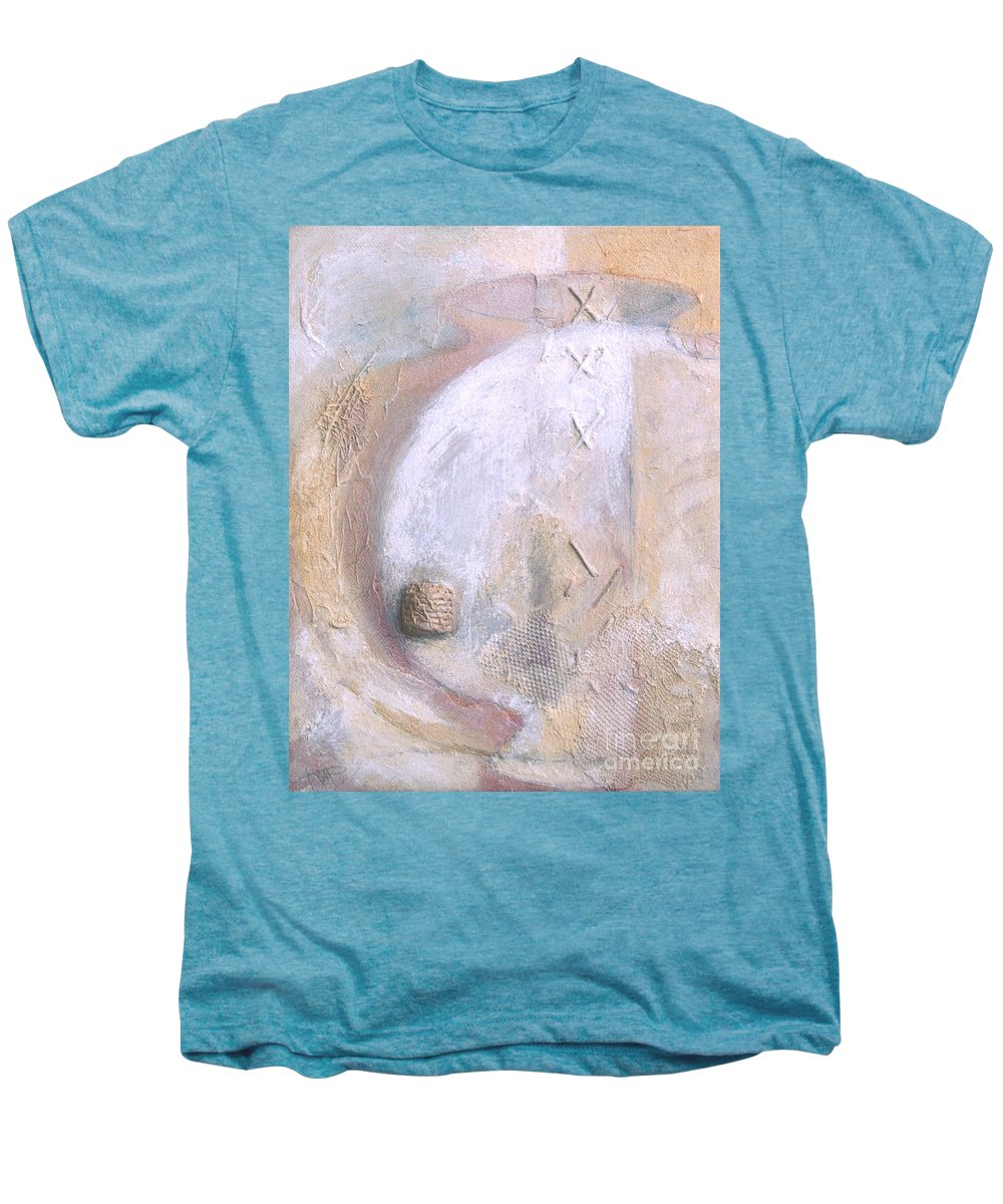 Collage Men's Premium T-Shirt featuring the painting Give And Receive by Kerryn Madsen-Pietsch