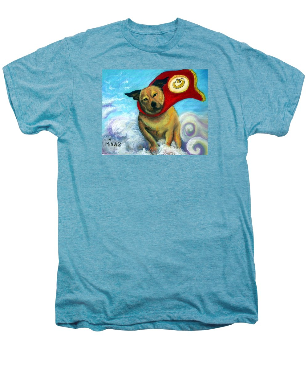 Dog Men's Premium T-Shirt featuring the painting Gizmo The Great by Minaz Jantz