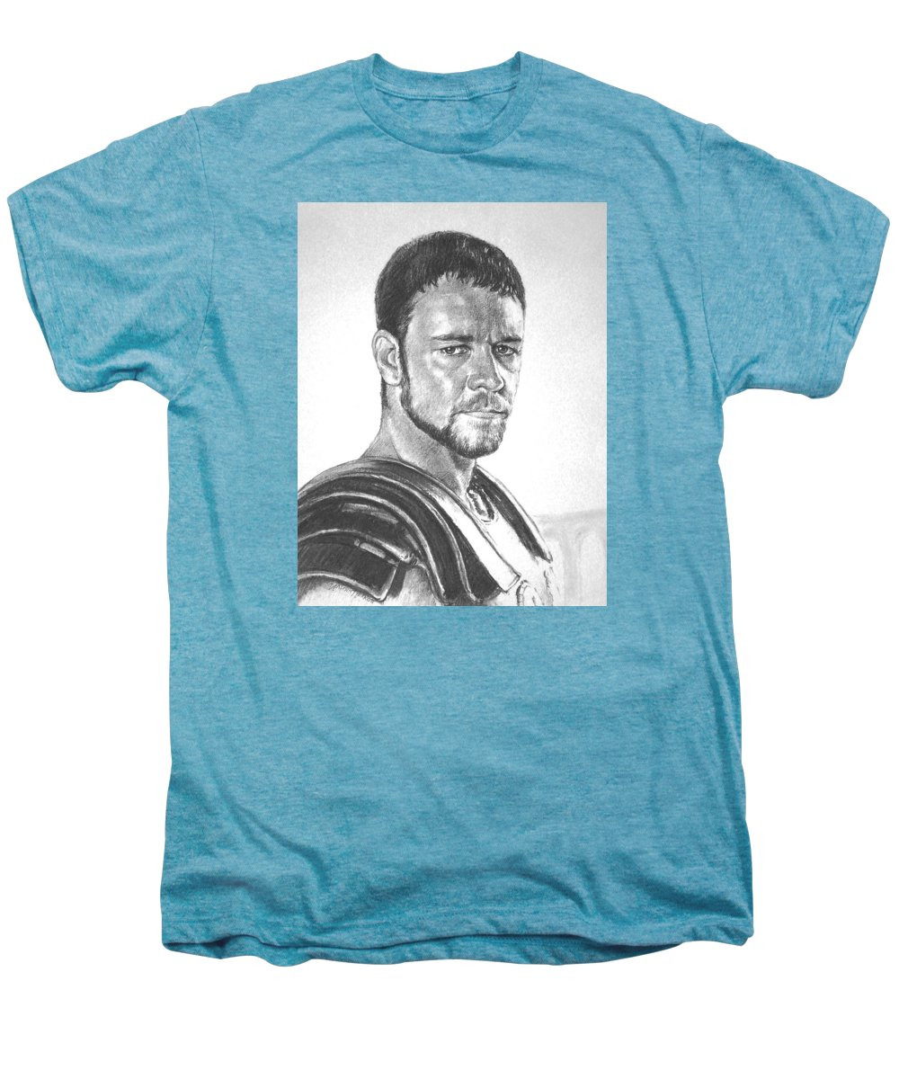 Portraits Men's Premium T-Shirt featuring the drawing Gladiator by Iliyan Bozhanov