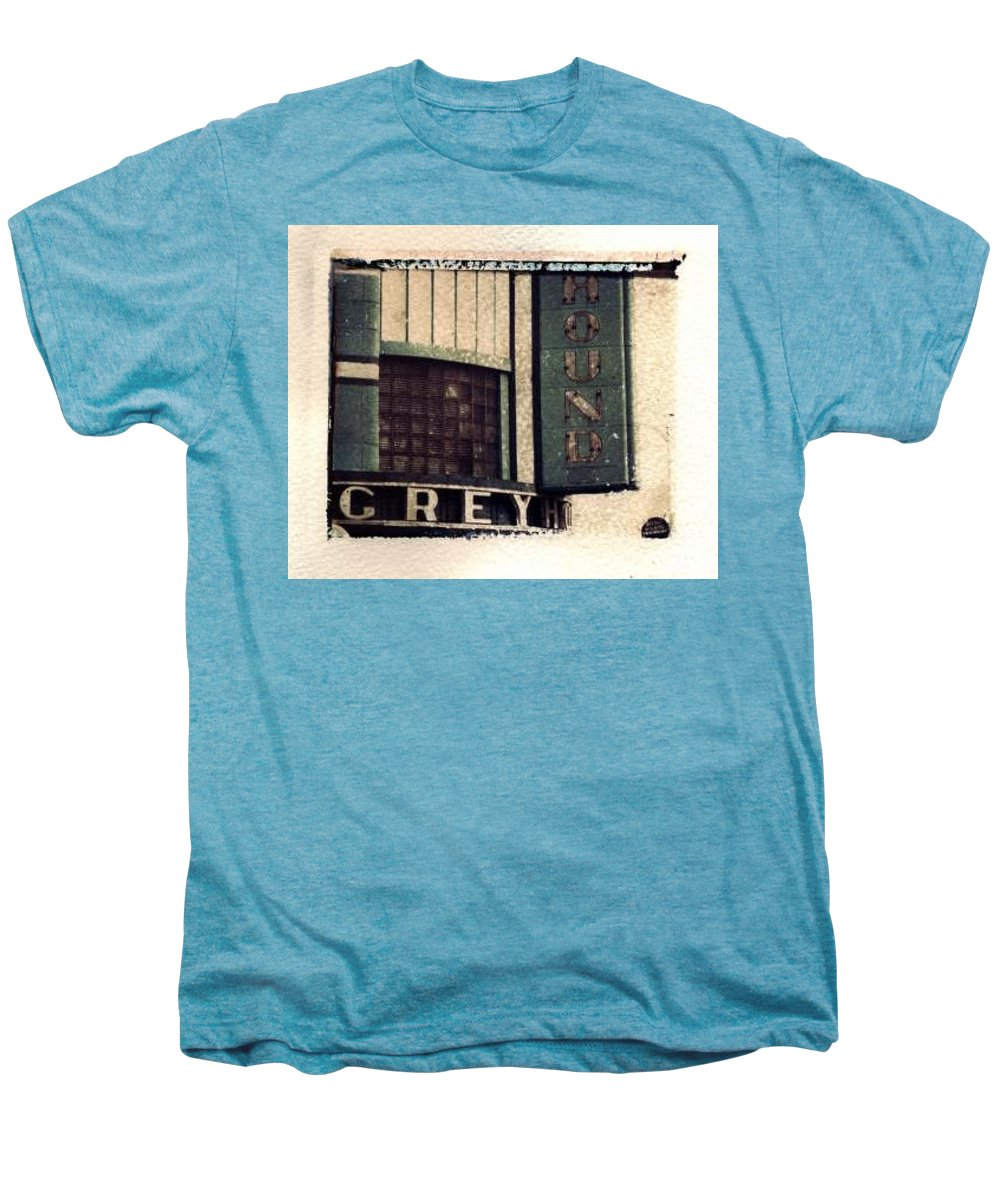 Polaroid Transfer Men's Premium T-Shirt featuring the photograph Go Greyhound And Leave The Driving To Us by Jane Linders