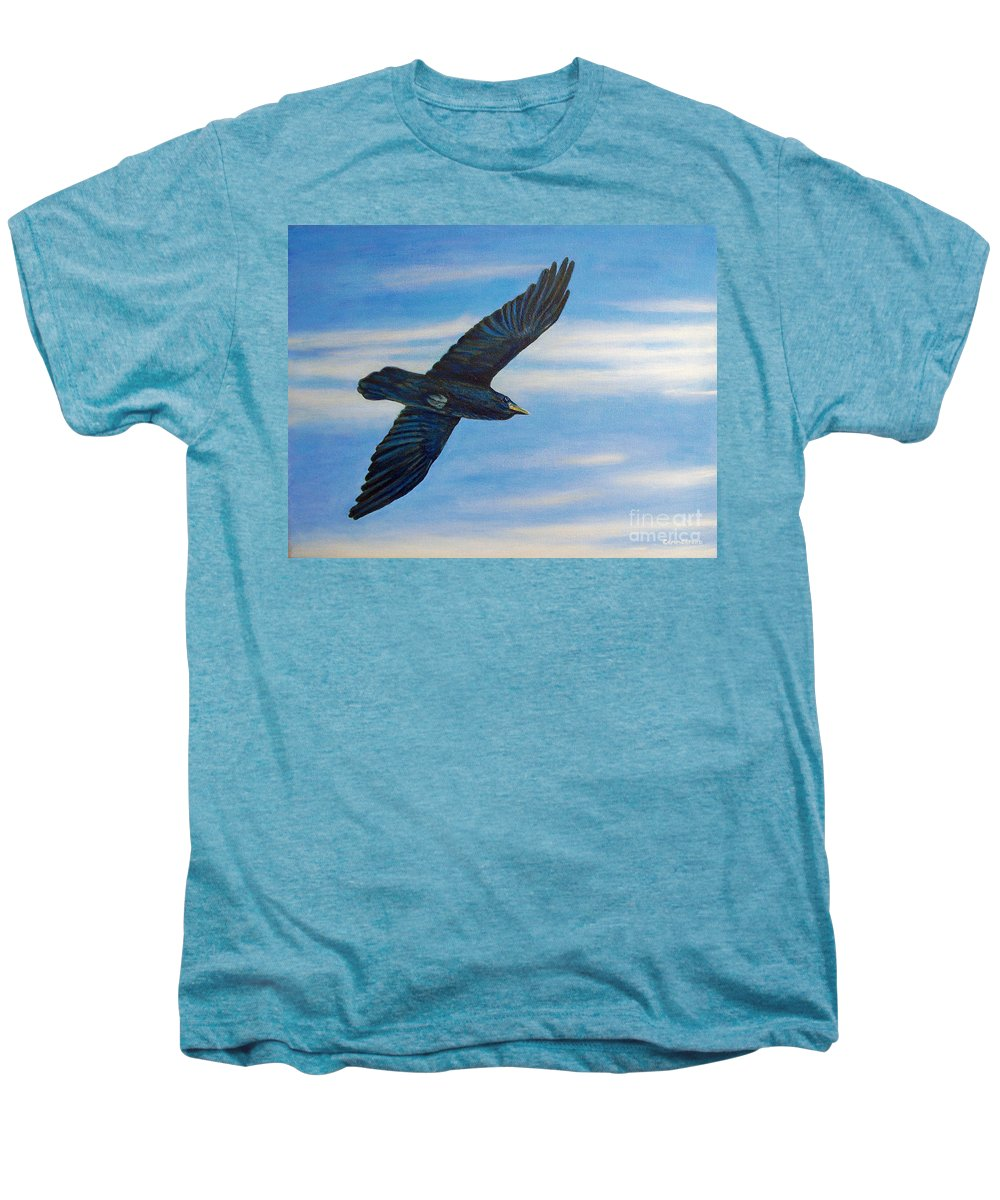 Bird Men's Premium T-Shirt featuring the painting Going Home by Brian Commerford