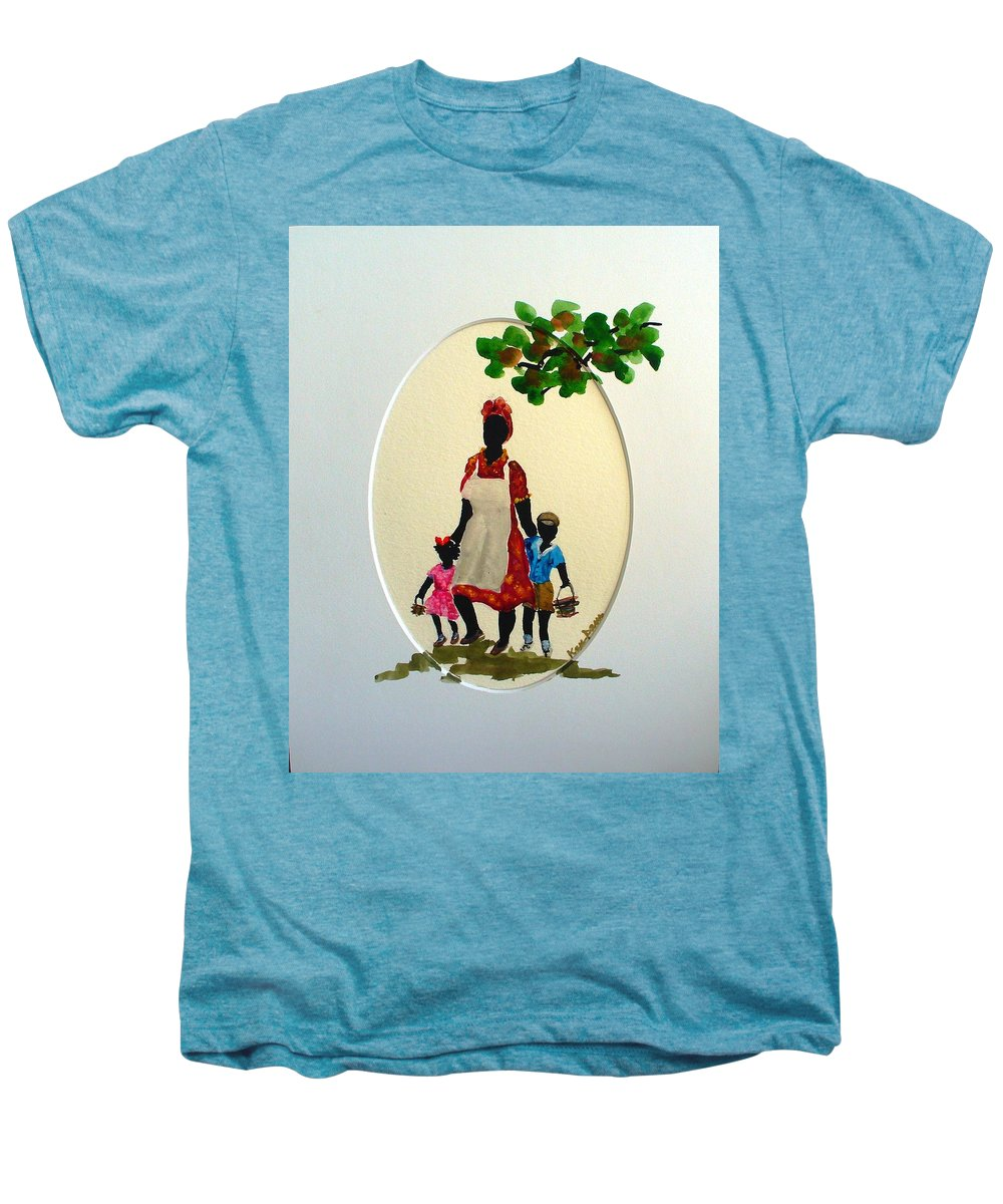 Caribbean Children Men's Premium T-Shirt featuring the painting Going To School by Karin Dawn Kelshall- Best