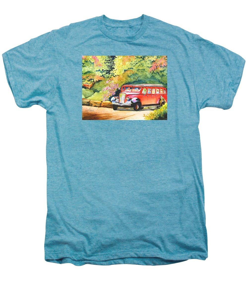 Landscape Men's Premium T-Shirt featuring the painting Going To The Sun by Karen Stark