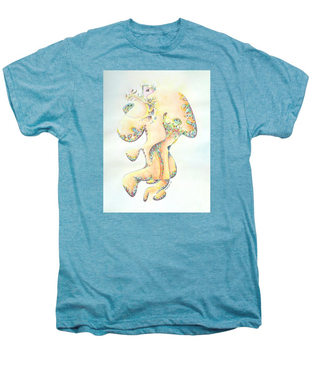 Figure Men's Premium T-Shirt featuring the painting Gold Bejeweled Fertility Goddess by Dave Martsolf