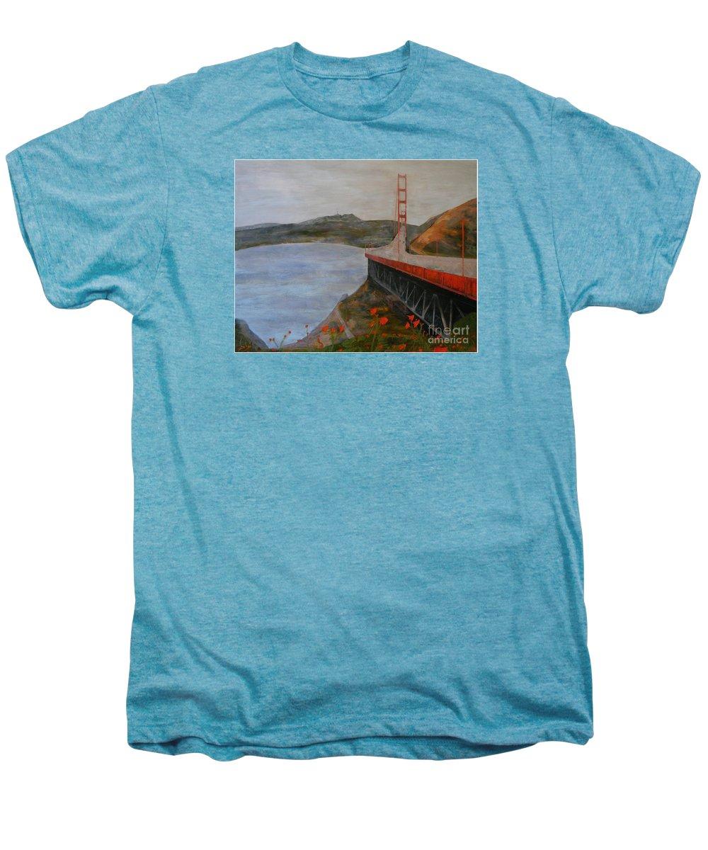 Golden Gate Bridge Men's Premium T-Shirt featuring the painting Golden Gate Bridge by Ellen Beauregard