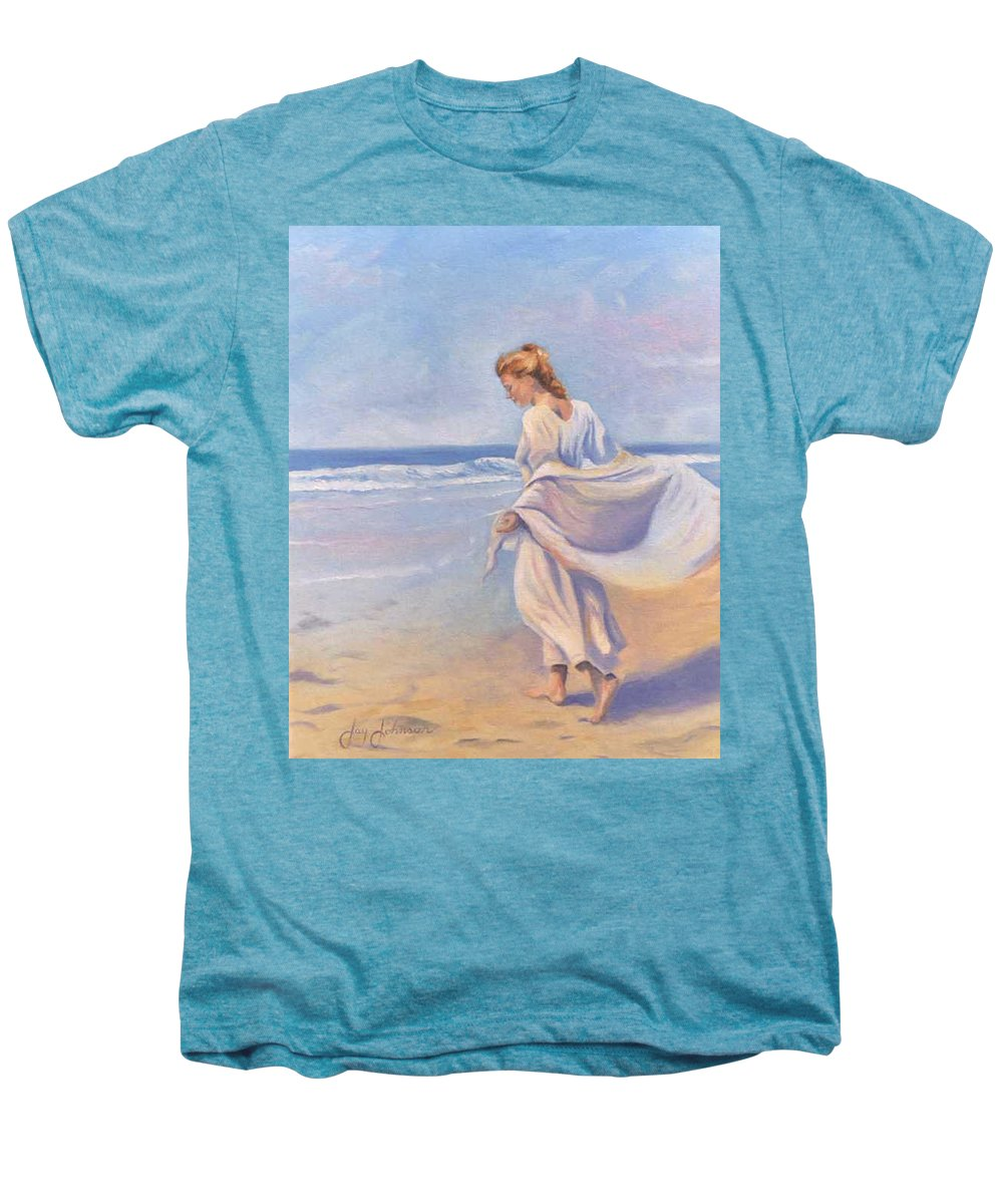 Beach Men's Premium T-Shirt featuring the painting Golden Girls by Jay Johnson