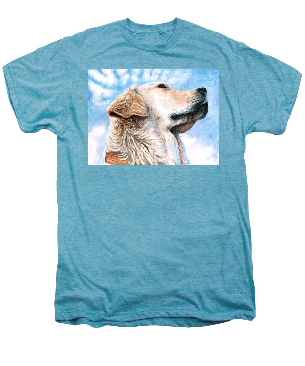 Dog Men's Premium T-Shirt featuring the painting Golden Retriever by Nicole Zeug