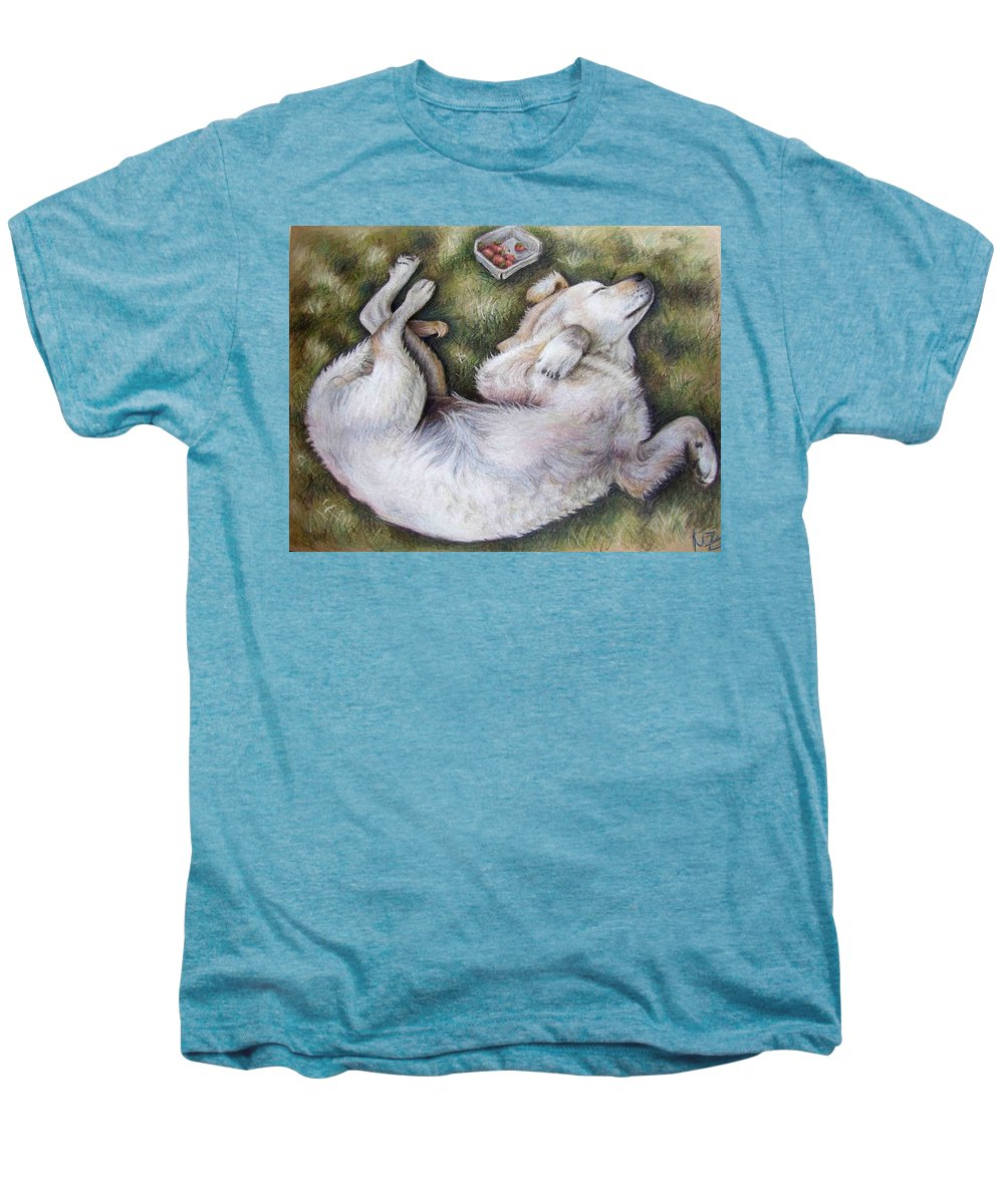 Dog Men's Premium T-Shirt featuring the pastel Golden Retriever Puppy by Nicole Zeug
