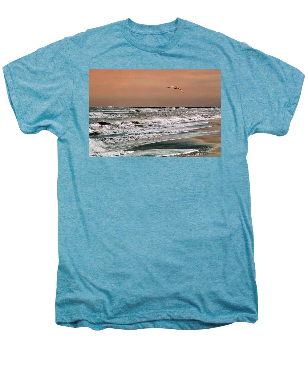 Seascape Men's Premium T-Shirt featuring the photograph Golden Shore by Steve Karol