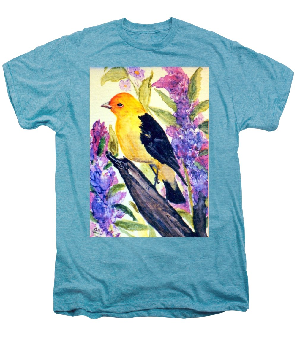 Birds Men's Premium T-Shirt featuring the painting Goldfinch by Gail Kirtz