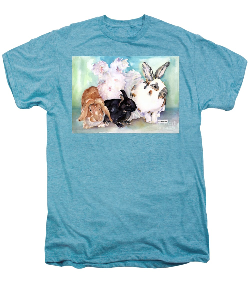 Animal Artwork Men's Premium T-Shirt featuring the painting Good Hare Day by Pat Saunders-White