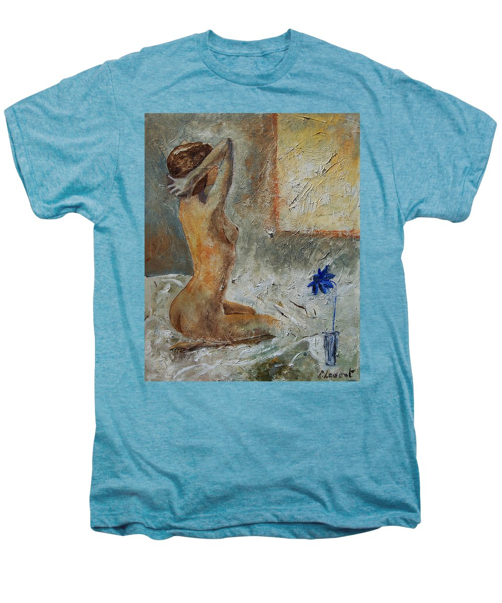 Nude Men's Premium T-Shirt featuring the painting Good Morning Sunshine by Pol Ledent