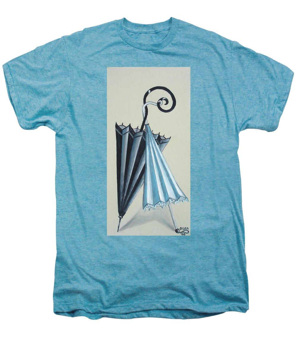 Umbrellas Men's Premium T-Shirt featuring the painting Goog Morning by Olga Alexeeva