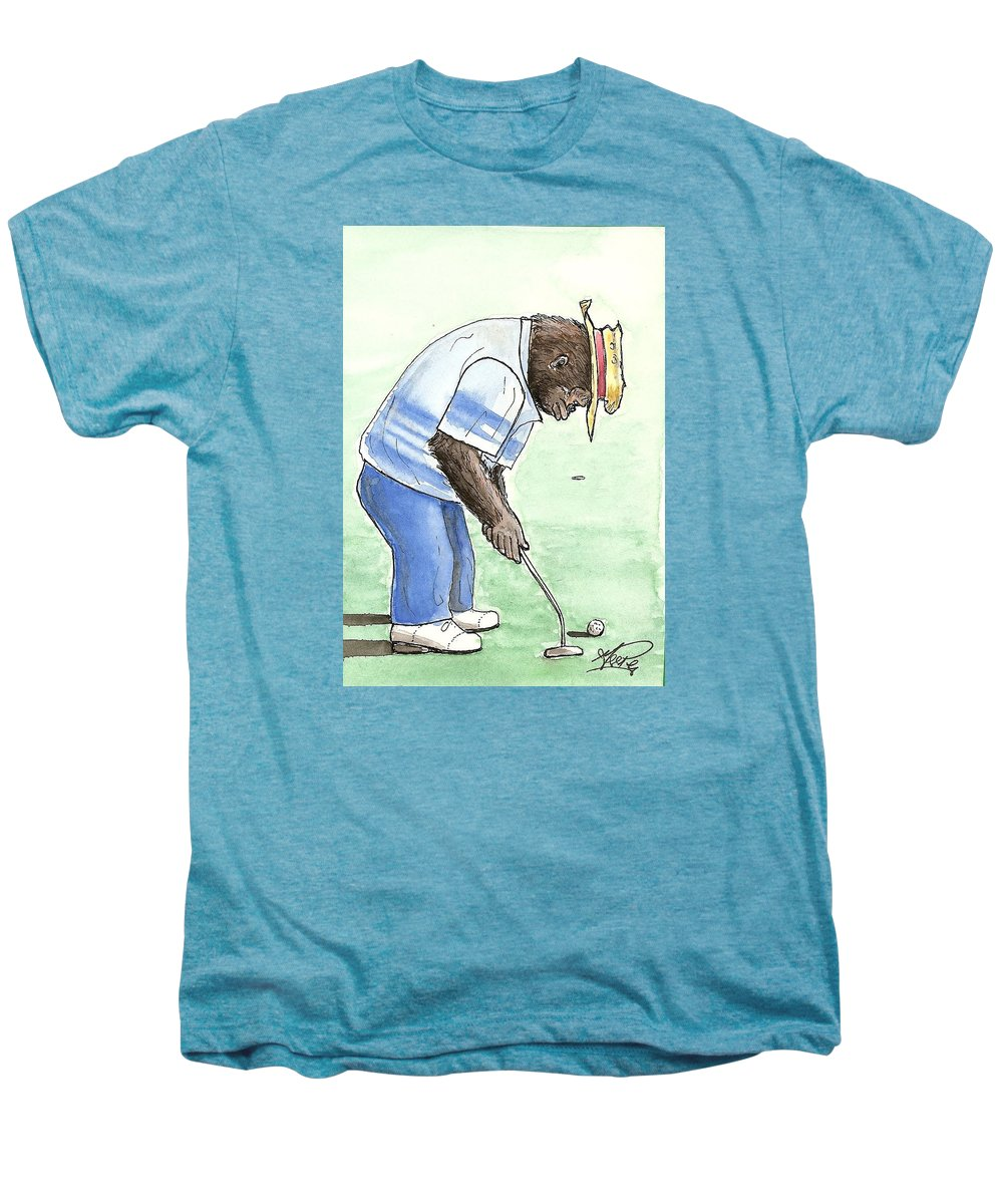Golf Men's Premium T-Shirt featuring the painting Got You Now by George I Perez