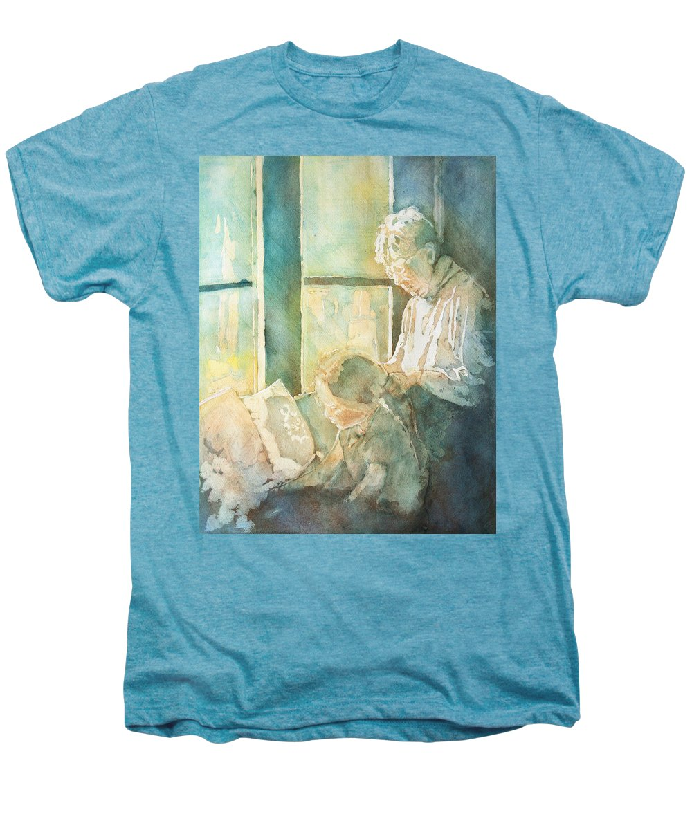 Family Men's Premium T-Shirt featuring the painting Gramdma Braids by Jenny Armitage