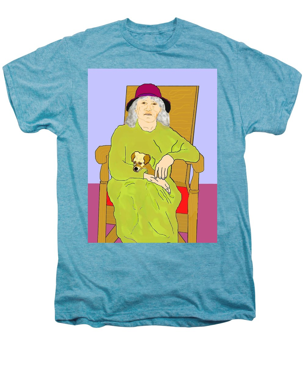 Grandmother Men's Premium T-Shirt featuring the painting Grandma And Puppy by Pharris Art