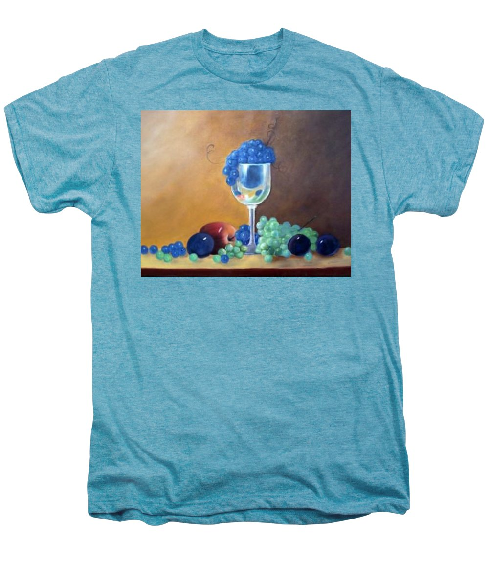 Wine Galsses With Grapes Men's Premium T-Shirt featuring the painting Grapes And Plums by Susan Dehlinger