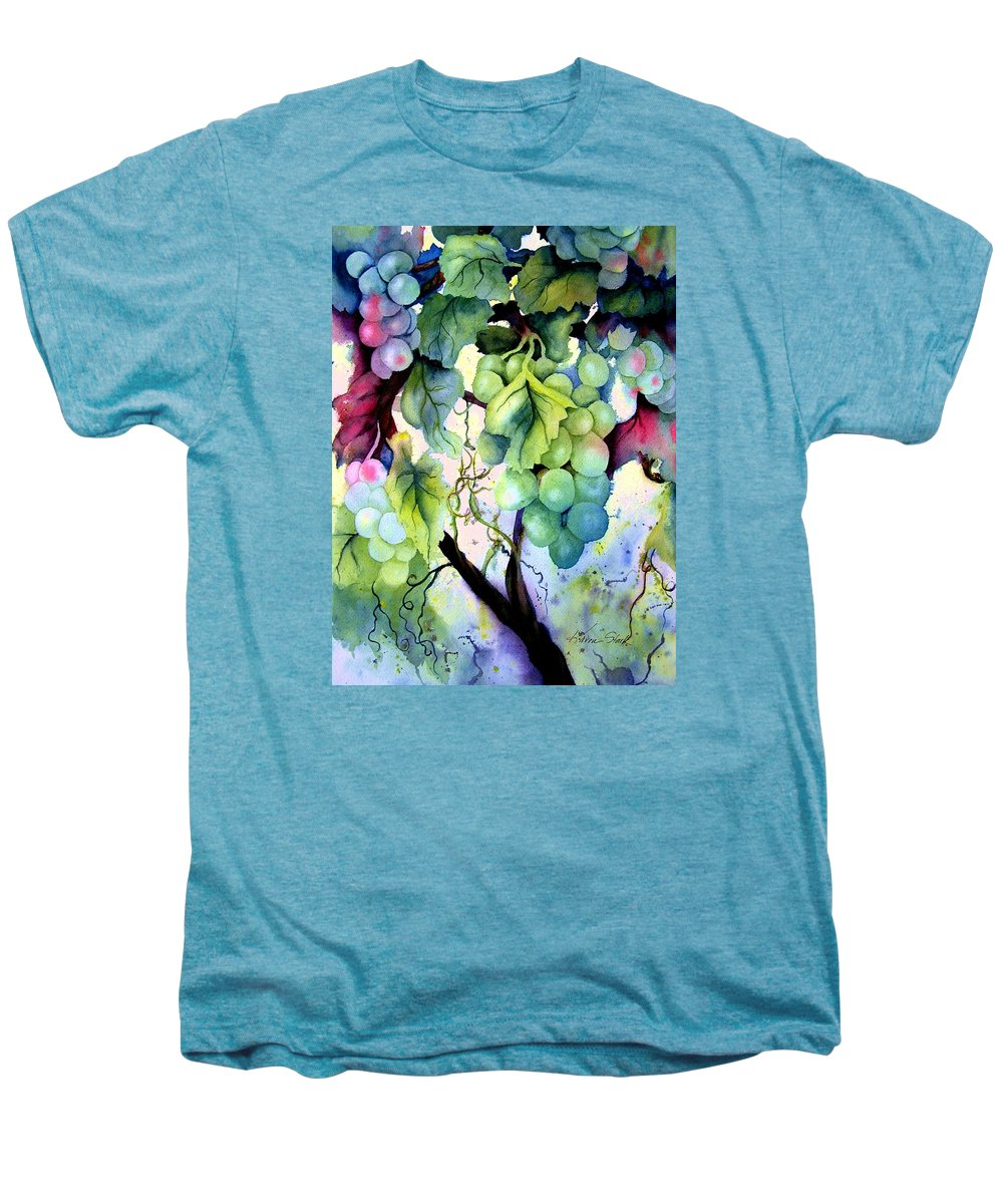 Grapes Men's Premium T-Shirt featuring the painting Grapes II by Karen Stark