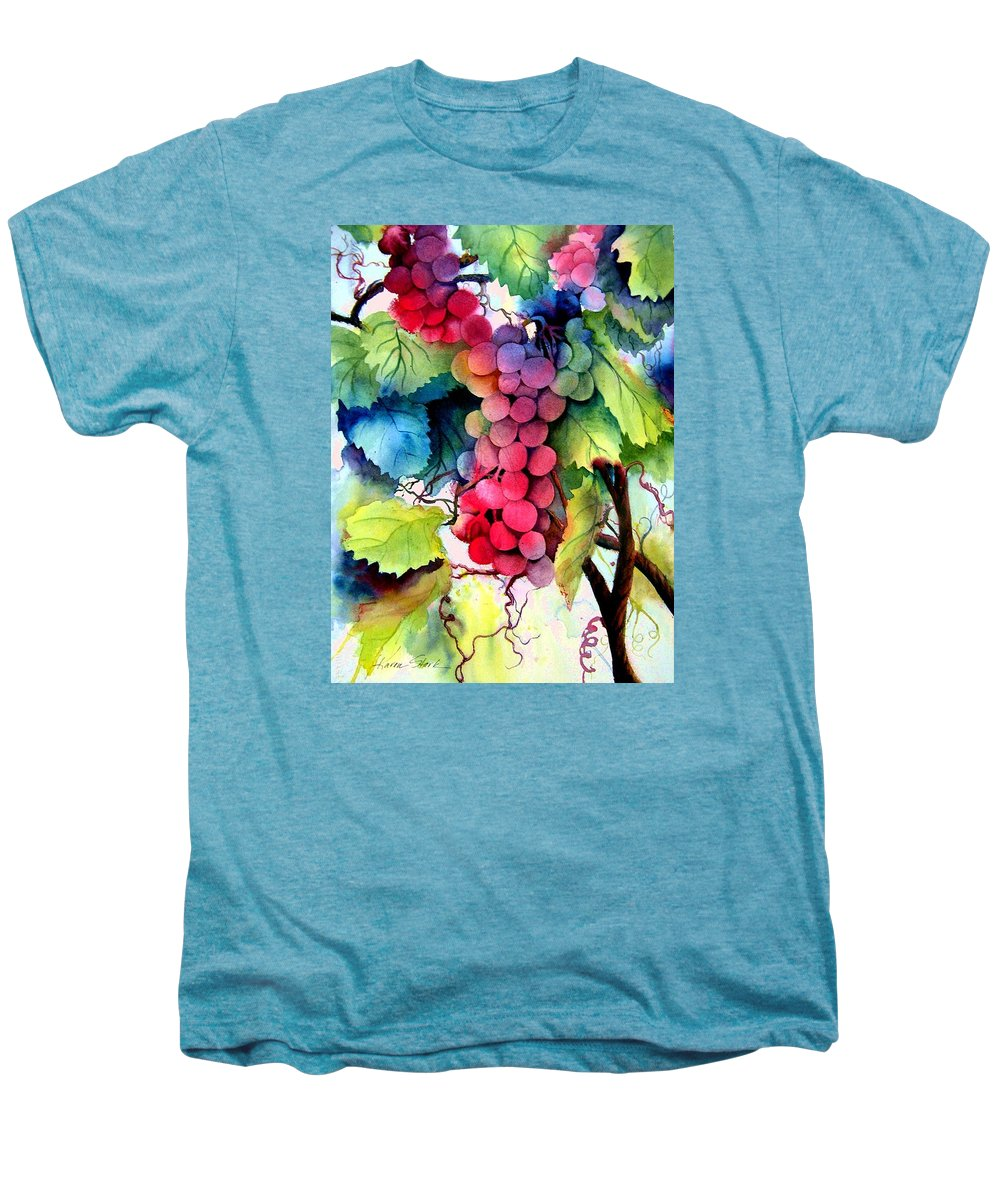 Grapes Men's Premium T-Shirt featuring the painting Grapes by Karen Stark