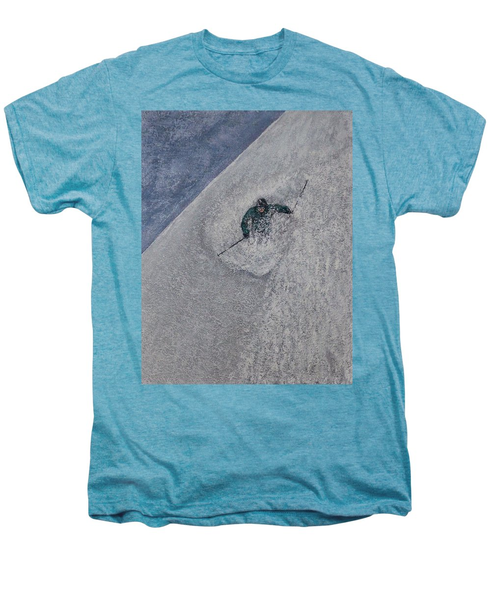 Ski Men's Premium T-Shirt featuring the painting Gravity by Michael Cuozzo